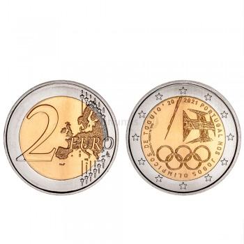 Moeda 2 Euros Portugal nos jogos Olímpicos de Tóquio Portugal 2021 Normal