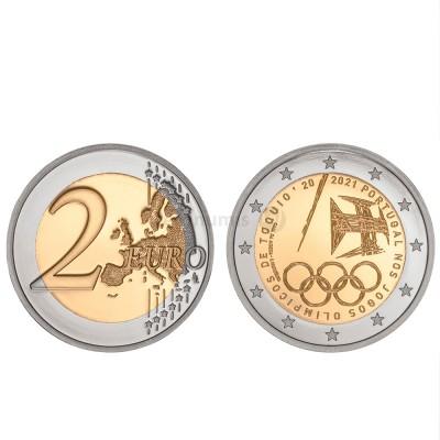 Moeda 2 Euros Portugal nos jogos Olímpicos de Tóquio Portugal 2021 Proof