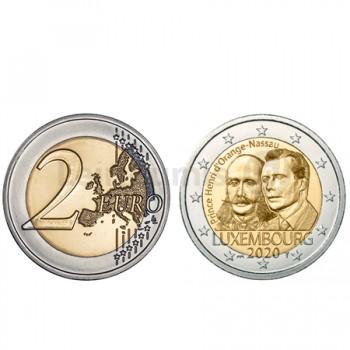 Moeda 2 Euro Príncipe Henri d'Orange Nassau Luxemburgo 2020