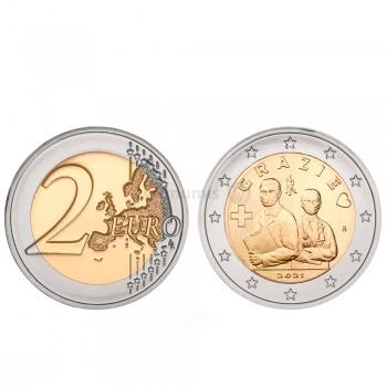 Moeda 2 Euros Profissão Médica Obrigado Itália 2021