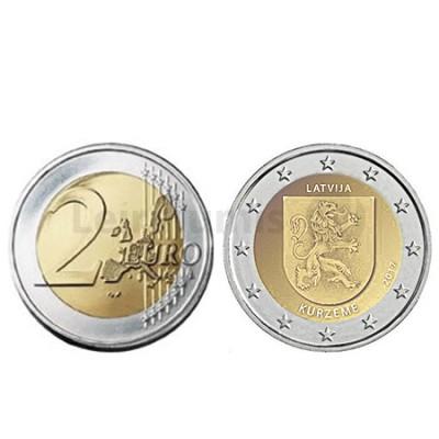 Moeda 2 Euros Região Histórica de Kurzeme Letónia 2017