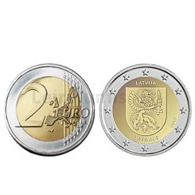 Moeda 2 Euros Região Histórica de Latgale Letónia 2017