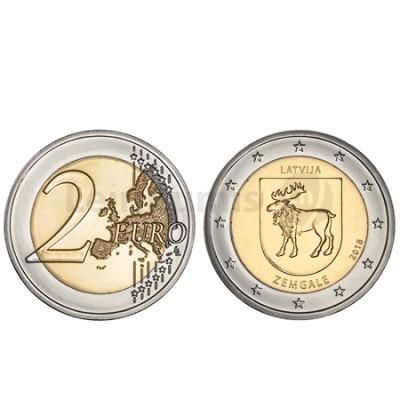 Moeda 2 Euros Região Zemgale Letónia 2018