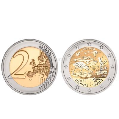 Moeda 2 Euro Reserva da Biosfera Zuvintas Lituânia 2021