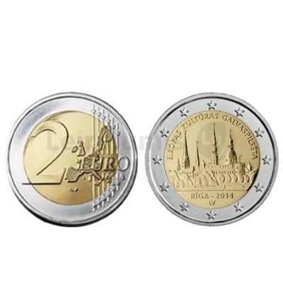 Moeda 2 Euros Riga Capital Europ. Cultura Letónia 2014