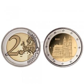 Moeda 2 Euro Saxônia Anhalt Catedral de Magdeburg Alemanha 2021 A
