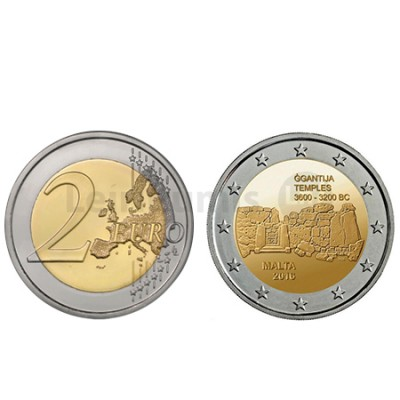 Moeda 2 Euro Sítios Pré-Históricos de Ggantija Malta 2016