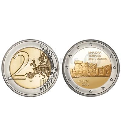 Moeda 2 Euros Templo Mnjdra Malta 2018