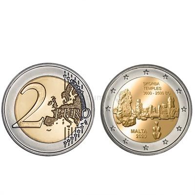 Moeda 2 Euros Templo Skorba Malta 2020 (Moeda sem Marca)