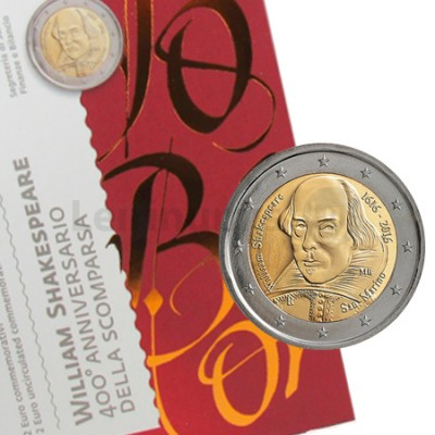 Moeda 2 Euro San Marino 2016 William Shakespeare