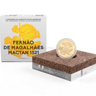 Moeda 7,5€ V Centenário da Viagem Circum-Navegação Fernando de Magalhães Mactan 1521 Portugal 2021 Ouro Proof