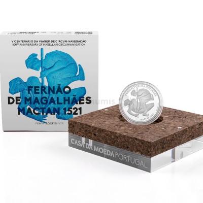 Moeda 7,5€ V Centenário da Viagem Circum-Navegação Fernando de Magalhães Mactan 1521 Portugal 2021 Prata Proof