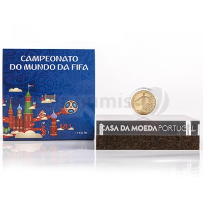 Moeda 2,5€ Campeonato do Mundo Fifa Russia 2018 Portugal Ouro Proof