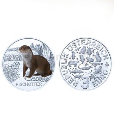 Moeda 3€ Colorida Lontra Áustria 2019