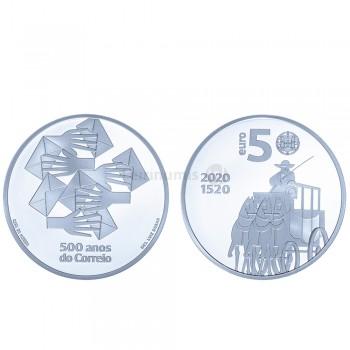 Moeda 5 euros 500 Anos do Correio Portugal 2020 Prata Proof