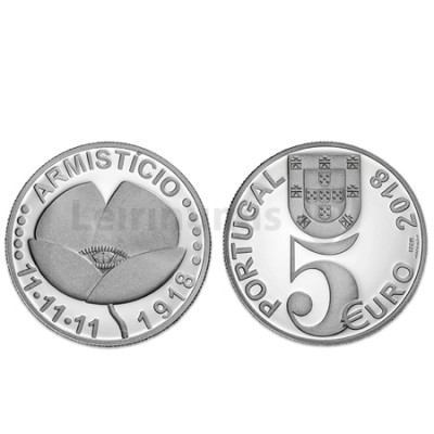 Moeda 5€ Centenário do Armistício Portugal 2018 Prata Proof