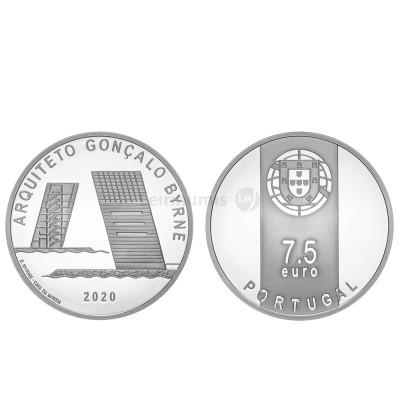 Moeda 7,5€ Comemorativa Arquitº Gonçalo Byrne Portugal 2020 Ag Proof