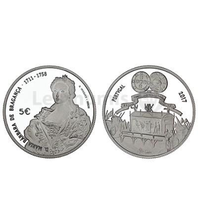 Moeda 5€  D Maria Bárbara de Bragança Prata Proof