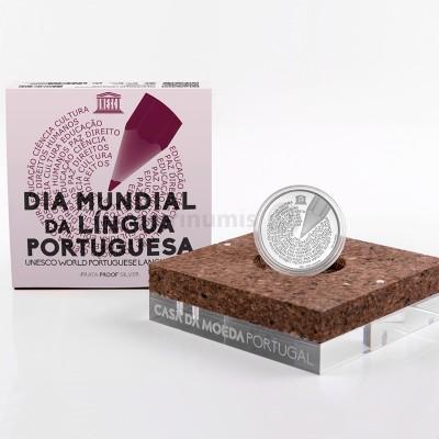 Moeda 5€ Comemorativa Dia Mundial Língua Portuguesa Prata Proof Portugal 2020