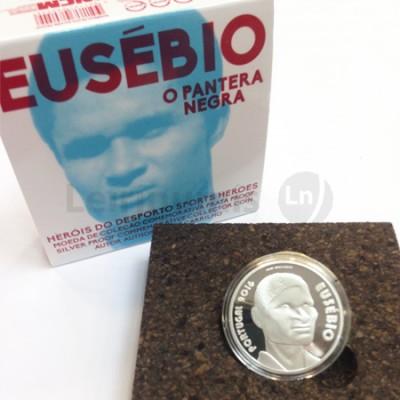 Moeda 7,5 Euro Comemorativa Eusébio 2016 prata proof