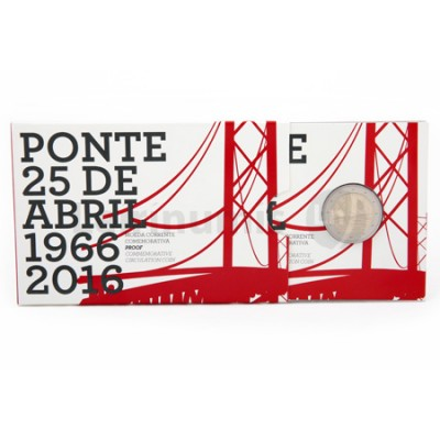 Moeda 2 Euro Comemorativa Ponte 25 Abril Portugal 2016 Proof