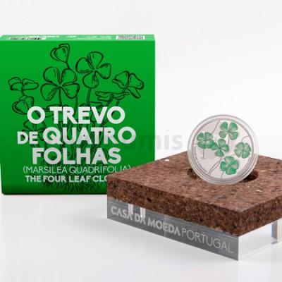 Moeda 5€ Comemorativa Trevo de Quatro Folhas 2018 Prata Proof