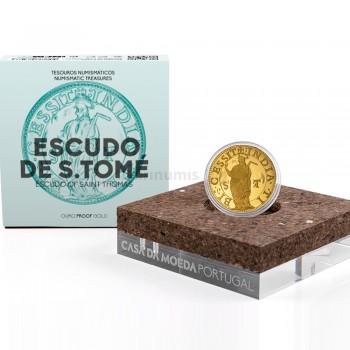 Moeda Ouro Escudo de São Tomé Portugal 2021 Proof