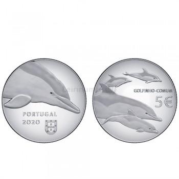 Moeda O Golfinho Espécies Ameaçadas prata proof Portugal 2020