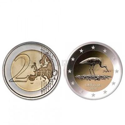 Moeda 2 Euros Block Stork  (Cegonha) - Letónia 2015