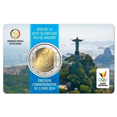 Moeda 2 Euro Coin Card  Jogos Olimpicos Rio Janeiro Bélgica 2016