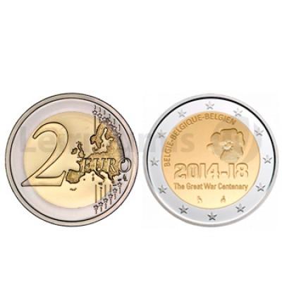 2 Euros 100 Anos da 1 guerra Mundial Bélgica 2014