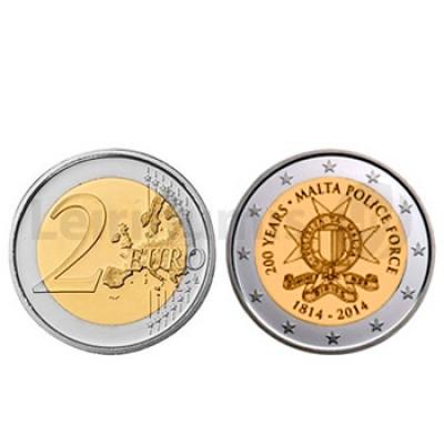2 Euros 200 Anos policia de Malta Malta 2014