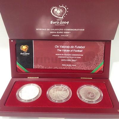 Moedas Coleção 3X8€ Os Valores do Futebol 2004 Prata Proof