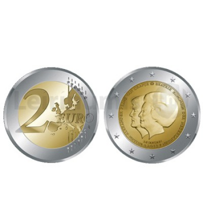 2 Euros Rainha Beatriz e Príncipe Willem Alexandre Holanda 2013
