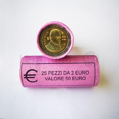Rolo 25 Moedas 2 Euros Camilo Benso di Cavour de Italia 2010